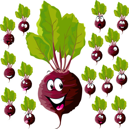 beetroot: beetroot cartoon with many expressions isolated on white background