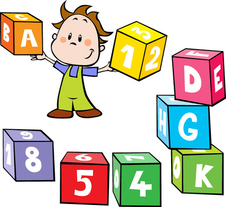 illustration of little boy hold colorful cubes with letter and number isolated on white background - school by play Illustration