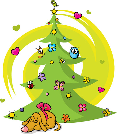 christmas tree with dog, bird, flower, star and butterfly on white background Vector