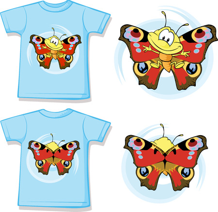 kids wear: kid shirt with cute butterfly printed - isolated on white