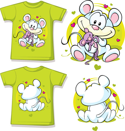 kid shirt with cute mouse printed - isolated on white  Illustration