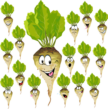 sugar beet cartoon with many expressions isolated on white Ilustração