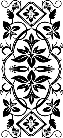 black floral ornament on white background Vector