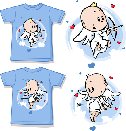 kids wear: kid shirt with cute angel printed - isolated on white  Illustration