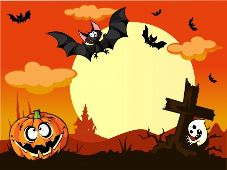 halloween background with pumpkin in the grass, grave, cute bats and moon in the back  Illustration
