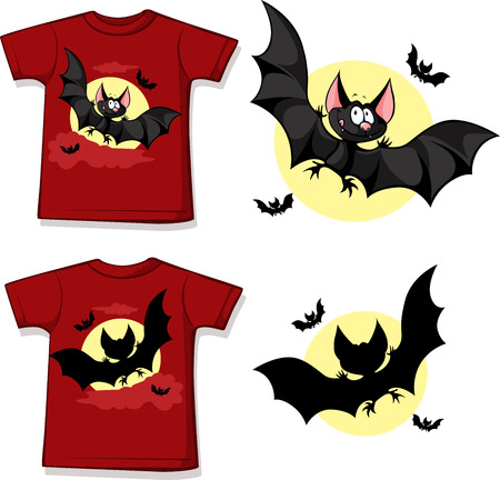 incubus: kid shirt with cute vampire printed - isolated on white, back and front view  Illustration