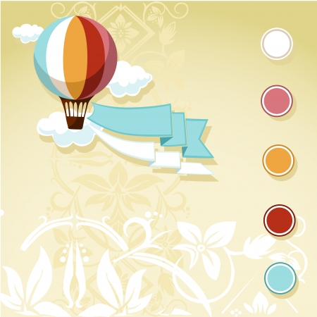 vintage design with flying balloon and floral background Stock Vector - 22799512