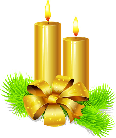 white candle: golden candle with bow decoration and fir twig isolated in front of white background