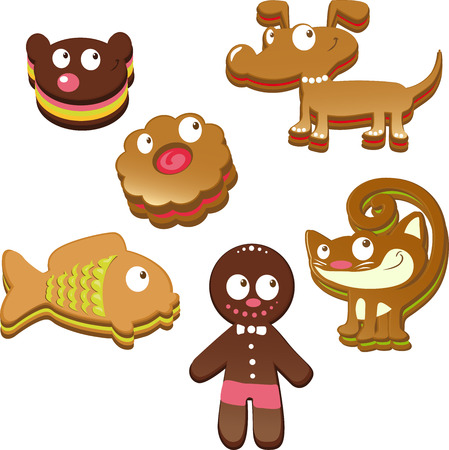 cute christmas gingerbread cookies isolated on white background  Stock Vector - 23207935