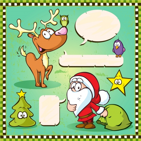 santa s bag: reindeer, owl and santa isolated with speech bubble on vintage frame background