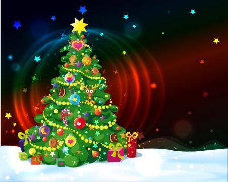 tannenbaum: Weihnachtsbaum mit leuchtenden Lichtern und Sternen Illustration