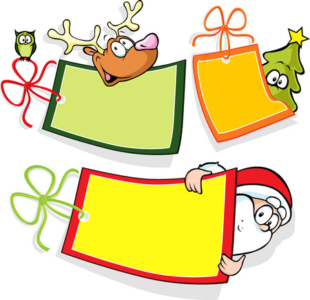 christmas paper tag with santa, christmas tree and reindeer isolated on white background Vector