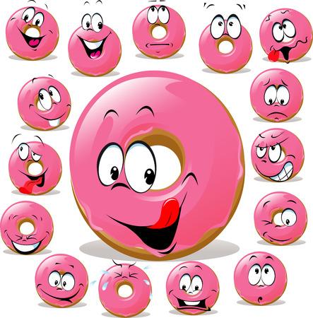 expression visage: Donut dessin anim� avec de nombreux expression du visage isol� sur fond blanc