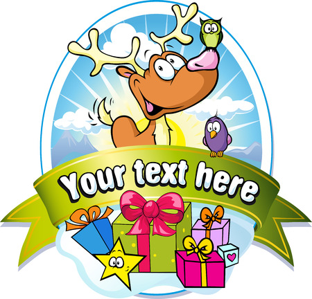 christmas label with reindeer and gifts Vector