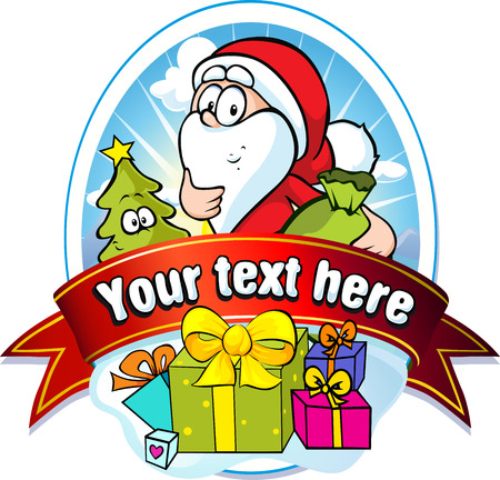 santa s bag: christmas label with Santa Claus and gifts