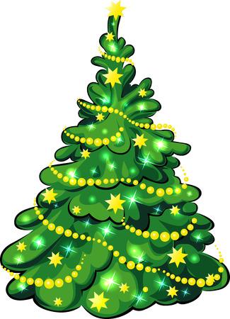 illuminated: Illuminated Christmas Tree isolated on white background