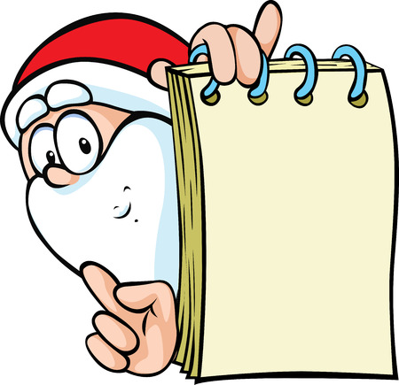 workbook: santa claus with special offer - holding paper block