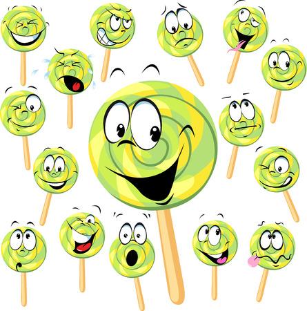 paletas de caramelo: dibujos animados paleta con muchas expresiones aisladas en blanco