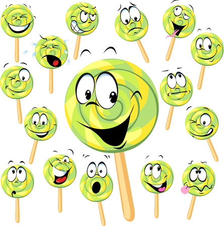 big smile: lollipop cartoon with many expressions isolated on white