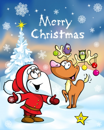 santa s bag: Merry Christmas greeting card, funny santa claus and reindeer vector illustration