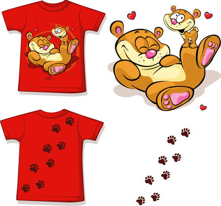 kid shirt with cute bear printed - isolated on white, back and front view  Vector