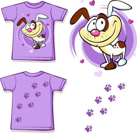 cute dog: kid shirt with cute dog printed - isolated on white, back and front view