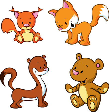 cute animals: fox, bear, weasel and squirrel  - cute animals cartoon isolated on white background Illustration