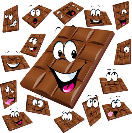 fondo chocolate: dibujos animados chocolate con leche con muchos expresi�n aislada sobre fondo blanco