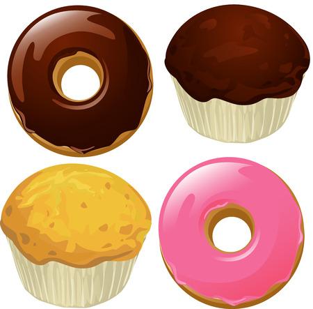 흰색 배경에 고립 도넛과 머핀 - 벡터 일러스트 레이 션 일러스트