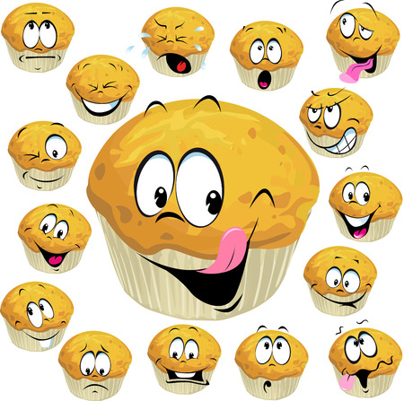 homemade cake: muffin cartoon with many expression isolated on white background