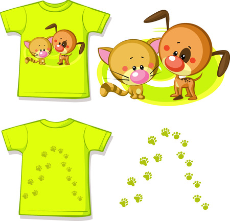 kid shirt with cute cat and dog printed - isolated on white, back and front view  Illustration