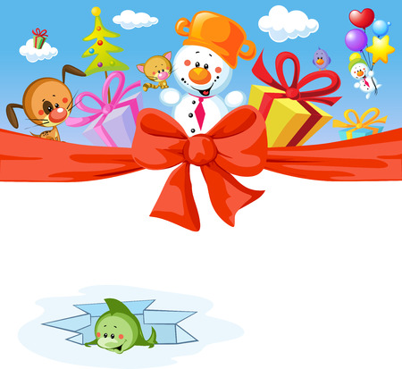 funny christmas design with snowman and animals Vector