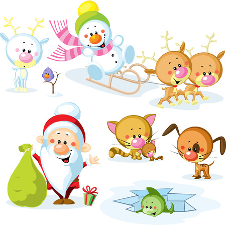Santa Claus with snowman, cute Christmas animals - reindeer, cat, dog, bird and fish Vector