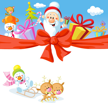 Christmas design with Santa Claus, gifts, xmas tree, snowman and funny reindeer Vector