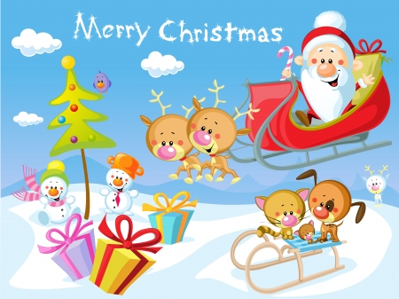 Merry Christmas design with Santa Claus Sleigh, Christmas Tree, Snowman and Cute Animal Vector