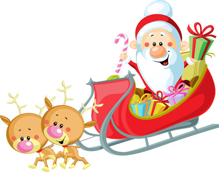 Santa Sleigh and Reindeer isolated on white background Vector