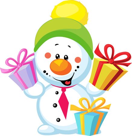 weinig sneeuwman met gift op een witte achtergrond Vector Illustratie
