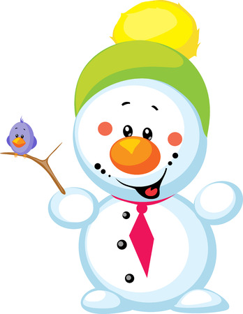 little snowman with bird isolated on white background Vector