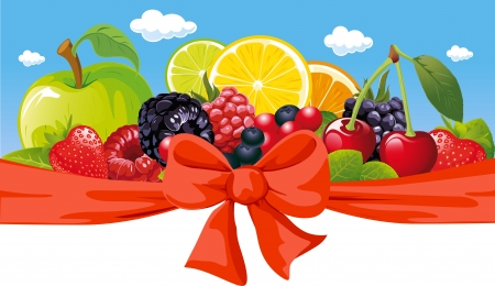 cranberry: vector horizontal design with fruit, bow and blue sky