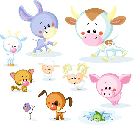 farm animals: vector farm animals - cow, pig, goat, ram, sheep, cat and dog isolated on white background