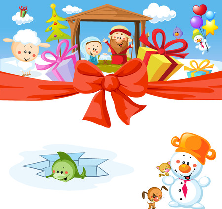 funny vector christmas design with nativity Vector