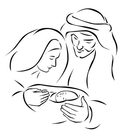 거룩한 가족과 함께 크리스마스 출생 장면 - 아기 예수, 성모 마리아와 요셉 벡터 일러스트 레이 션