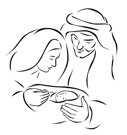 Christmas nativity scene with holy family - baby Jesus, virgin Mary and Joseph  vector illustration