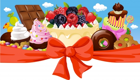 horizontal design with sweet food - cake, chocolate, ice cream and candy Illustration