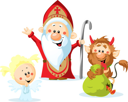 세인트 니콜라스, 악마와 천사 - 흰색 배경에 고립 된 벡터 그림은 크리스마스 시즌 동안 그들은 경고 나쁜 아이들을 처벌하는 좋은 아이들에게 선물을