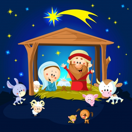 creche: Nativity in Bethlehem with animals - Christmas vector illustration