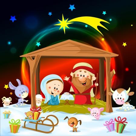 かわいい動物とライトのクリスマスの降誕