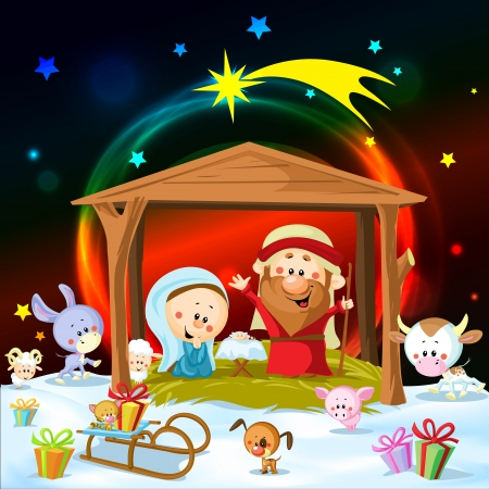 빛과 귀여운 동물들과 함께 크리스마스 출생 일러스트