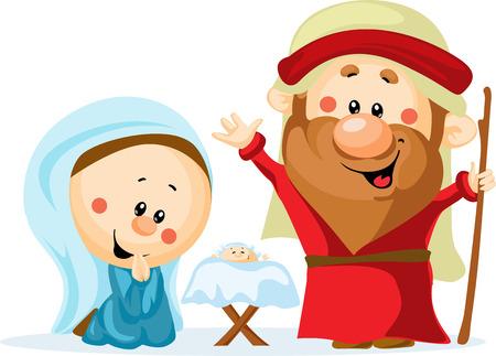 크리스마스 침대, 아기 예수, 성모 마리아와 요셉 귀여운 벡터 일러스트 레이 션 - 거룩한 가족과 함께 재미 크리스마스 출생 장면