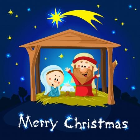 nascita di gesu: merry xmas Nativit� a Betlemme - illustrazione vettoriale Natale